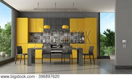 Black And Yellow Modern Kitchen With Dining Table And Chair - 3d Rendering