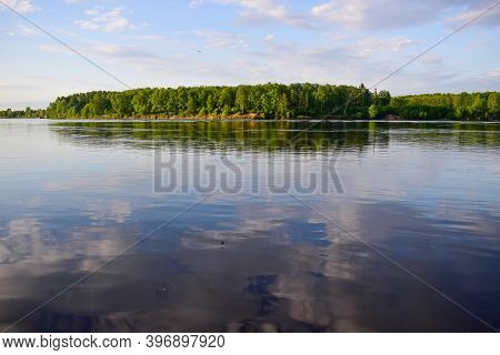 Quiet And Calm Look At The Neva River You Can See The Other Side