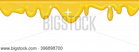 Flows Of Yellow Fluid. Honey. Thick Flowing Paint. Sweet Cream Or Mucus. The Drops Are Slipping. The