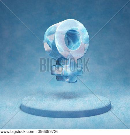 Venus Icon. Cracked Blue Ice Venus Symbol On Blue Snow Podium. Social Media Icon For Website, Presen