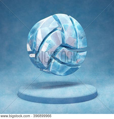 Volleyball Ball Icon. Cracked Blue Ice Volleyball Ball Symbol On Blue Snow Podium. Social Media Icon