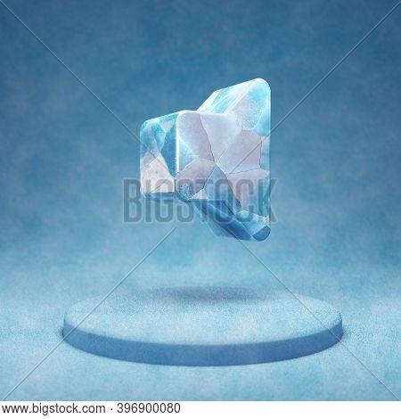 Volume Off Icon. Cracked Blue Ice Volume Off Symbol On Blue Snow Podium. Social Media Icon For Websi