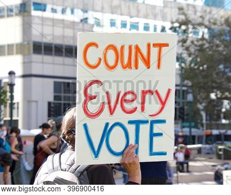 Oakland, Ca - Nov 4, 2020: Unidentified Participants Of The Defend The Vote Rally At Oscar Grant Pla