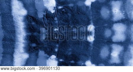 Watercolour Abstract Water. Indigo Denim Ink Dye Print. Artistic Craft Surface. Abstract Water Color