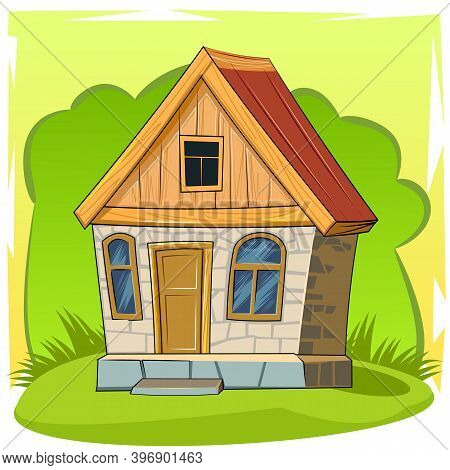 Old Village House. Fabulous Cartoon Object. Cute Childish Style. Ancient Dwelling. Tiny, Small. On A