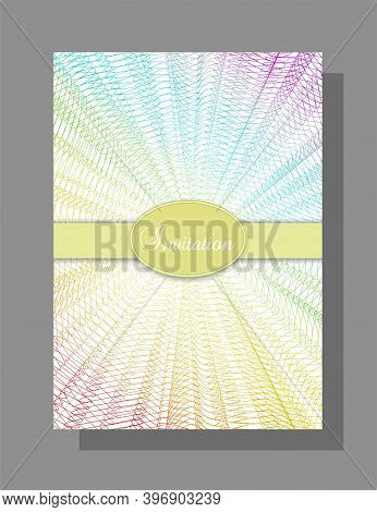 Invitation, Gift Certificate Design. Multicolored Line Art Pattern. Rainbow Net. Abstract Background