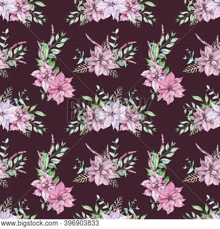 Watercolor Pink Poinsettia And Eucalyptus Branches Seamless Pattern. Christmas Flower Background. Fe