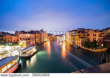 Venice, Italy. Venice City Panoramic Sunset View. Beautiful Sunset View At Grand Canal.