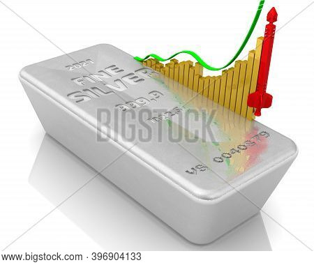 The Rise In The Value Of Silver. One Ingot Of 999.9 Fine Silver And A Graph Of Rapid Growth With Con