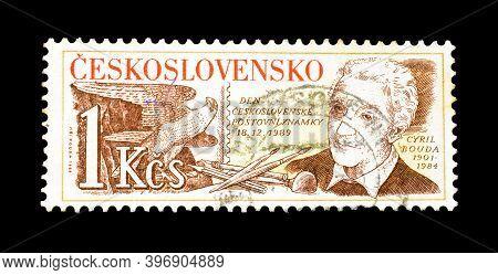 Czechoslovakia - Circa 1989 : Cancelled Postage  Stamp Printed By Czechoslovakia, That Shows Portrai