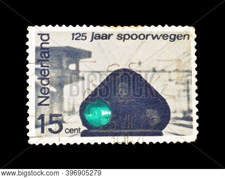 Netherlands - Circa 1964: Cancelled Postage Stamp Printed By Netherlands, That Shows Railroad Light