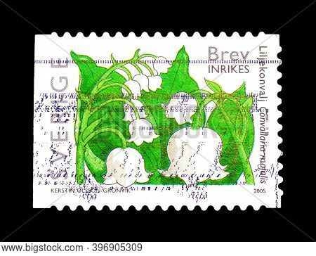Sweden - Circa 2005 : Cancelled Postage Stamp Printed By Sweden, That Shows Lily Of The Valley Flowe