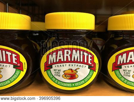 Oakland, Ca - Nov 12, 2020: Grocery Store Shelf With Jars Of Marmite Brand Yeast Extract. A By-produ