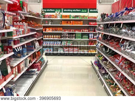 Alameda, Ca - Nov 18, 2020: Grocery Store With Christmas Supplies, Candies And Stocking Stuffers.