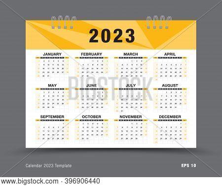 Calendar 2023 Template Vector , 12 Months Yearly Calendar Set In 2023, Business Brochure Flyer, Prin
