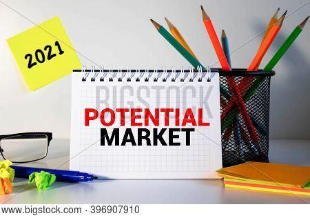 Market Potential And Marketing Research-letterhead In A Folder On The Managers Desk. Planning Strate