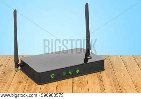 Wireless Internet Router On The Wooden Planks, 3d Rendering