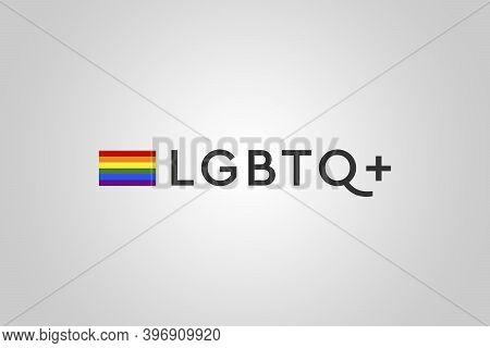 Lgbtq Community Gay Concept. Letters And Multicolored Flag. Original Color Symbol Of Gay Pride. Rain