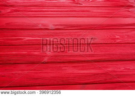 Painted Old Wooden Wall. Red Background Wood Red Plank Background