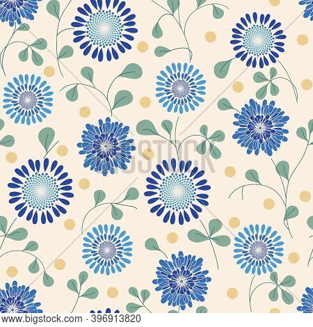 Blue Allover Floral Non Directional Repeat Pattern