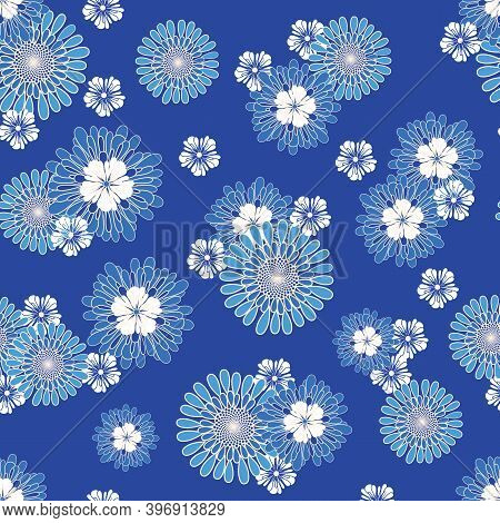 Blue And White Allover Daisy Non Directional Repeat Pattern