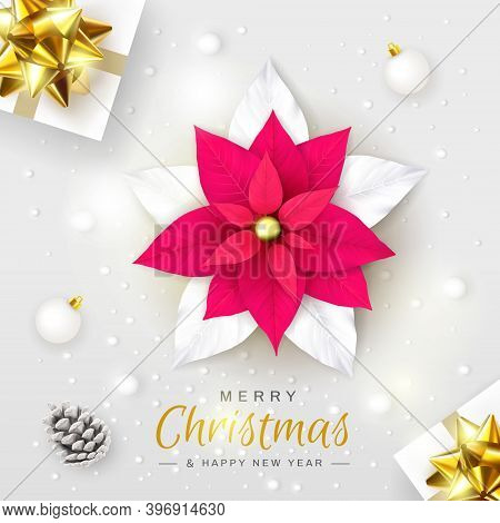 Merry Christmas And Happy New Year. Christmas Composition With Stylized Poinsettia Flower, Gift Boxe