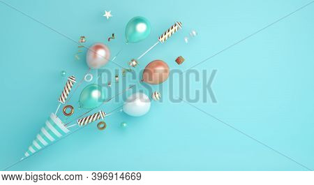 Happy New Year 2021 Background Concept With Popper Cone, Firework Rocket, Balloon, Ribbon, Copy Spac