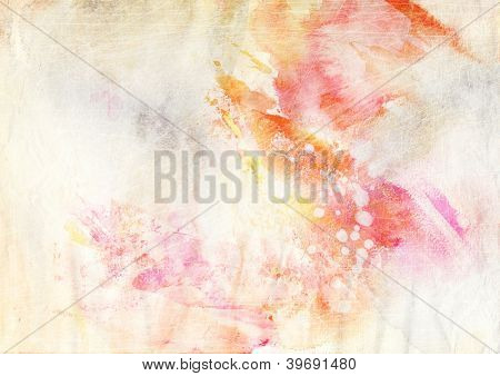 Abstract ink painting on grunge paper texture - dreamy atmosphere