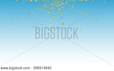 Yellow Ribbon Flying Vector Blue Background. Falling Serpentine Poster. Star Happy Branch. Gold Shin