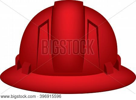 Protective Headgear For The Miner. Red Helmet.