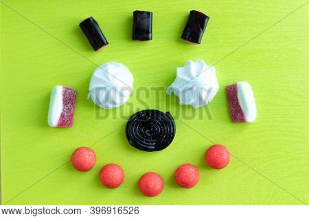 Candy Teeth Sweet Smile Flat Lay Colorful Fruit Marmalade, Marshmallow And Black Licorice Candies On