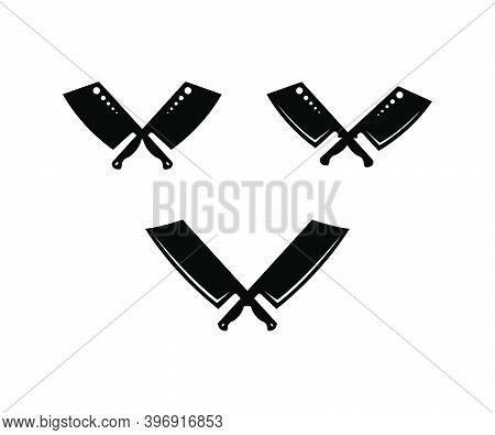 Vintage Retro Butcher Knife Cleaver Crossed For Butchery Meat Or Chef Logo Design