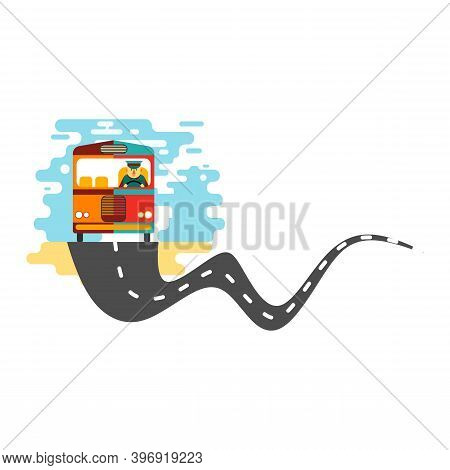 The Bus Drove On A Winding Village Road.  Best For Illustration Of Village Transportation, School Bu