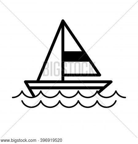 A Sailboat Icon Above The Rippling Waves.  Sailboat Icons Line Art Vector Best For Graphic Design El