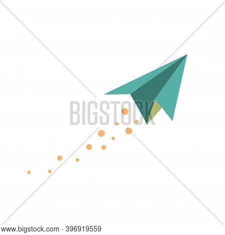 Light Blue Paper Plane, Flying With Smoke Dots Behind.  Best For Illustration Of Ideas And Hopes.