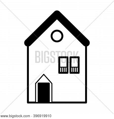 Cute Line Art House Icon.  Vector Black And White House Icon Isolated On White Background.  House Ve