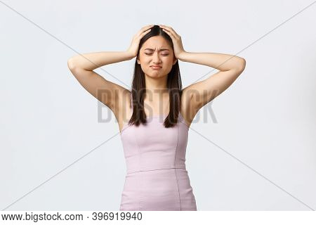 Luxury Women, Party And Holidays Concept. Troubled Young Asian Woman In Evening Dress Having Lots Of