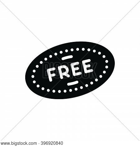 Black Solid Icon For Free Liberated Label Freebies Item Offer Badge Coupon Discount