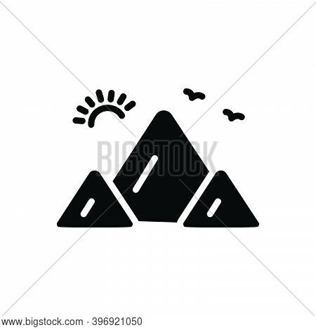 Black Solid Icon For Mount Hill Climbing Everest Himalaya Landscape Nature Rock