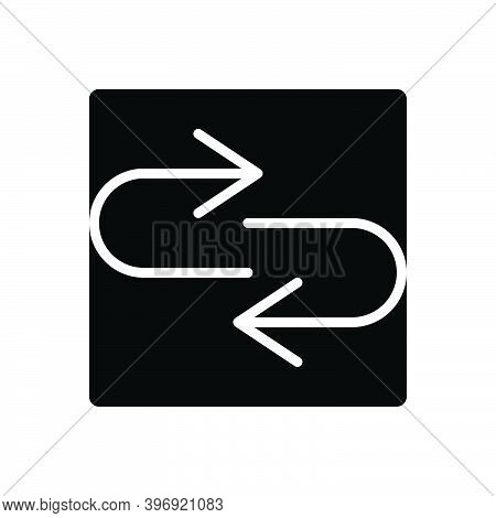 Black Solid Icon For Response Arrow Return Respond Repercussion Acknowledge Answer Communication Int