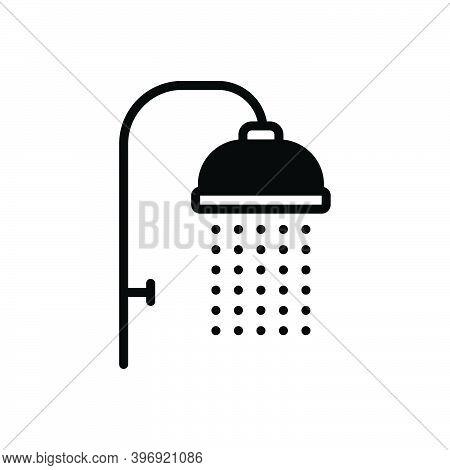 Black Solid Icon For Shower Sprinkling Downpour Shower-bath Washup Bathing Droplet Hygiene Cleanline