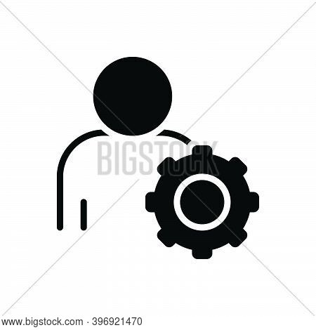 Black Solid Icon For Responsible Colleague Corporate Responsive Liable Accountable Trustworthy Setti