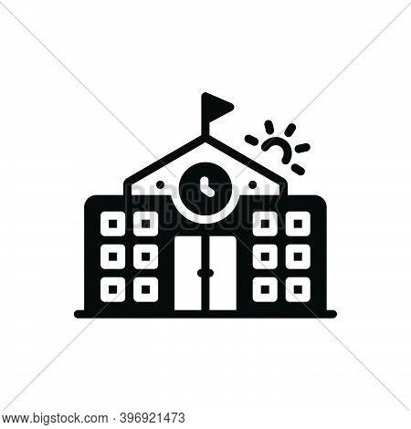 Black Solid Icon For Primary Flag-trendy College Highschool School Building University Institute Aca