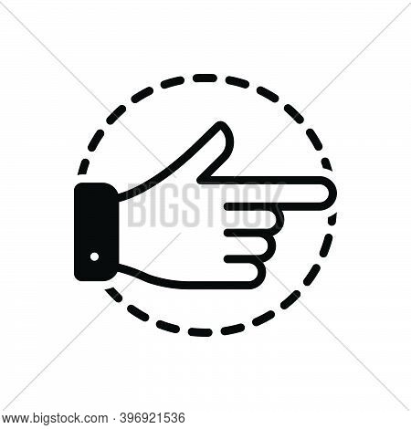 Black Solid Icon For Aside Finger Pointing Direction Forefinger Gesture Indicate Attention Separatel