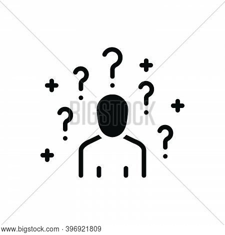 Black Solid Icon For Ask Help Inquir Support Ask-for Inquire Ask-about Quiz Consult Person Gesture Q