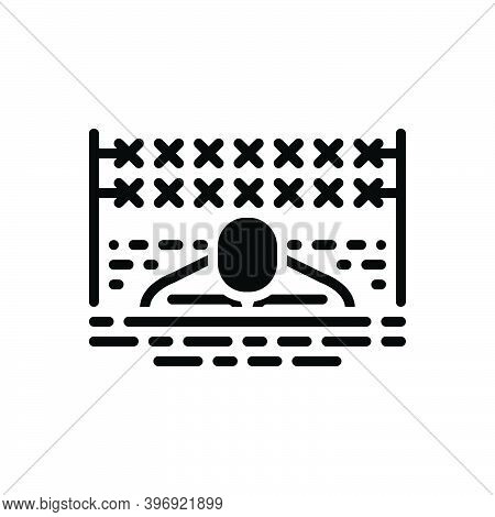 Black Solid Icon For Tough Rigid Stiff Hard Rude Insensitive Training Conflict Tenacious Vigorous Pe
