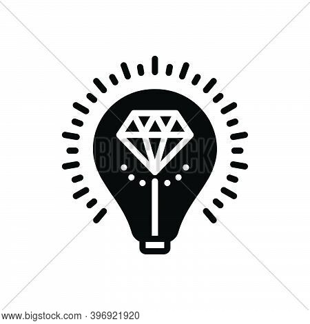 Black Solid Icon For Brilliant Bright Glossy Shining Luminous Sparkling Diamond Valuable Expensive T