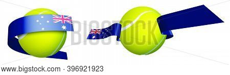 Sports Tennis Ball In Ribbons With Colors Australian Flag. Design Element For Tennis Competitions. T