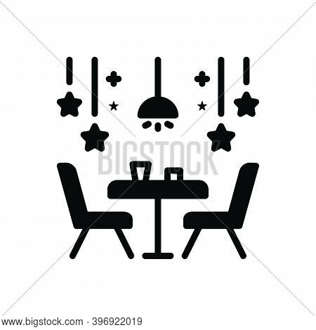 Black Solid Icon For Restaurant Eating-place Eatery Canteen Dining Chair Cloth Dining-table Table De