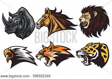 Wild Animals Heads Logo Mascot Set. Rhino, Horse, Lion, Lynx, Eagle, Leopard - Esport Sports Mascot